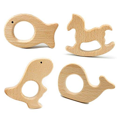 Imagen para Best for baby 4pc Juguetes para la dentición Madera Animal Colgante Mordedor madera Dentición del bebé