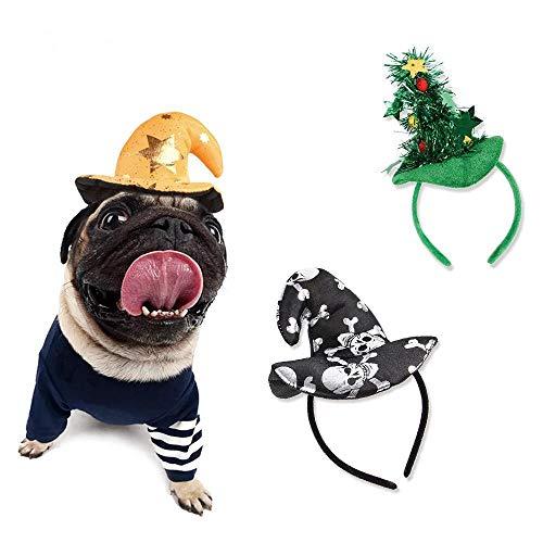 Sterne Pop Kostüm - WINNER POP Lustiger Halloween Hut, dreiteiliger Weihnachtsbaum, Sterne, Hut für Hunde und Katzen Weihnachten Cosplay Birthday Party Headwear, 3St