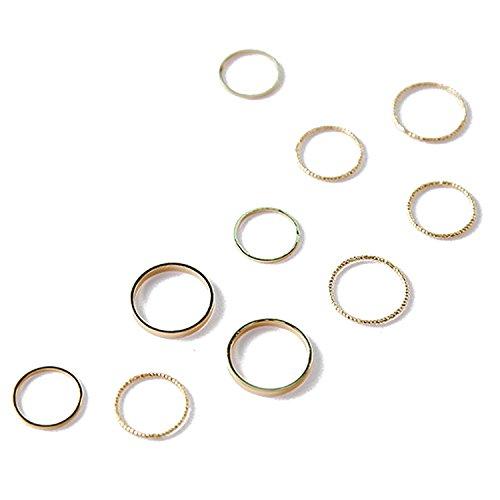 Gosear 10 Stk Frauen Legierung Mode Vintage Einfache Gemeinsame Knuckle Nagel MIDI Ring für Täglich Tragen Jahrestag Engagement Partei Goldene
