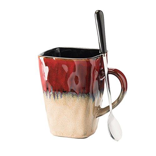 Réserve d'eau Tasse Verre Tasse Boisson Eau Thé Lait Café Jus Bière Tasse Carré Bohême Style Pour Bureau À Domicile Café Boutique Garde-manger Art (Couleur : Red)