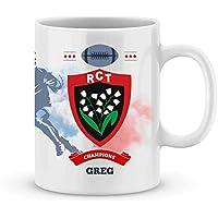 Mug RC Toulon Rugby Top 14 à personnalisé avec votre prénom - Cadeau personnalisé rugby top 14 RC Toulon - Cadeau anniversaire - Cadeau fête des pères - Cadeau Noël