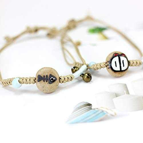 hjurnvbclaiwoxhauenw Keramik Paar handbemalt E-Mail Katze Essen Fisch Weben Glocke Armband Honig Geburtstagsgeschenk 2 12-21CM 12-21CM A -