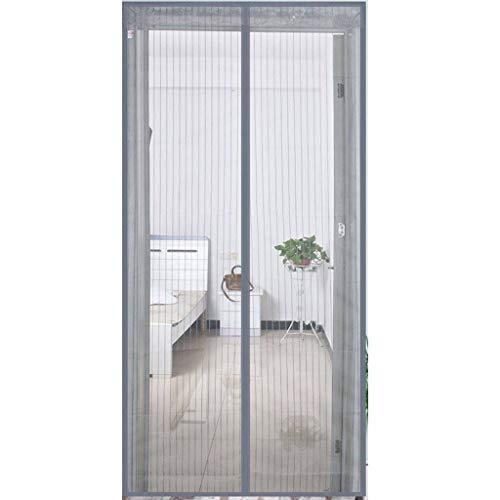Glasfasermaterial Magnetische Bildschirmtür, Hände Frei-Lassen Fliegengitter Tür Insektenschutz Fenstertüren Automatisches Verschließen Klebmontage ohne Bohren-Breit100Hoch220-Grau