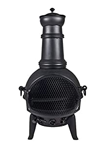 OXFORDLEISURE Oxford Leisure Black Steel Cast Iron Chiminea with Removable Grill for barbecues. Height: 85cm.