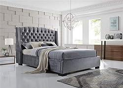 IFC Brando Wing Back Chesterfield Double Bed Frame, Grey Velvet Fabric, 135cm