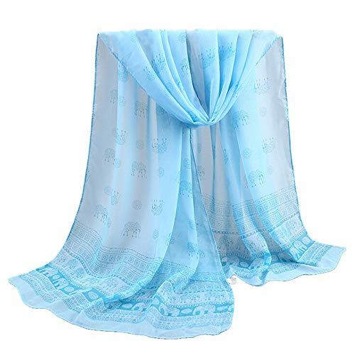 Xmiral Damen Schal Rose Druck lange weiche Retro Wrap Schals Damen Chiffon dünnen Schal(Blau)