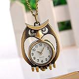BMY Búho de la Vendimia en Forma de Cuarzo Reloj de Bolsillo Collar Colgante Cadena Reloj Antiguo Retro Fob Relojes de Bronce