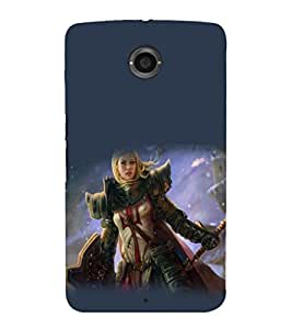 printtech Anime Fantasy Girl Warrior Back Case Cover for Motorola Google Nexus 6