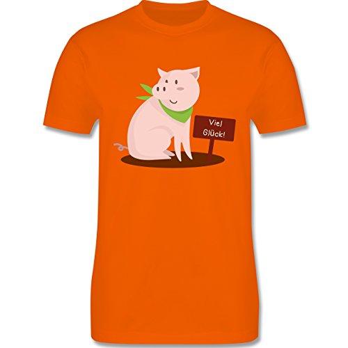 Sonstige Tiere - Glücksschweinchen - Herren Premium T-Shirt Orange