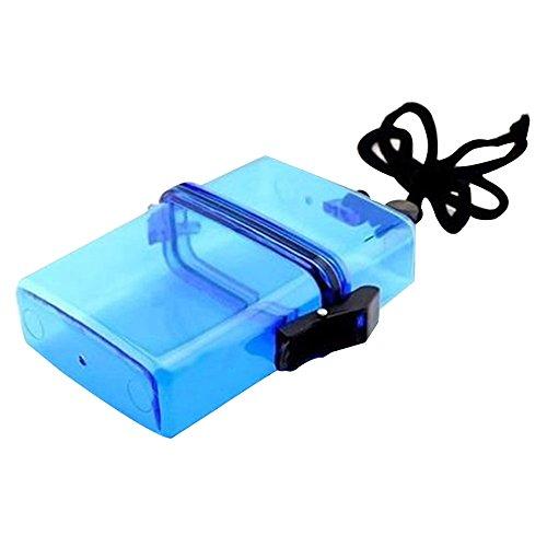 Sijueam Wasserdichte box Klein Kunststoff Zigarettenbox Ultraleicht Geldscheinbox Aufbewahrungsbox Kopfhörer Papiere Batterien Keys Kleine Gadgets Geld Container mit Lanyard für Schwimmen Beach Reisen Wandern Camping - Blau
