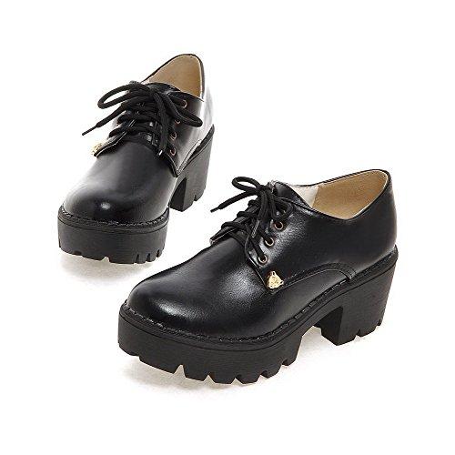 AllhqFashion Femme à Talon Correct Matière Souple Mosaïque Lacet Rond Chaussures Légeres Noir