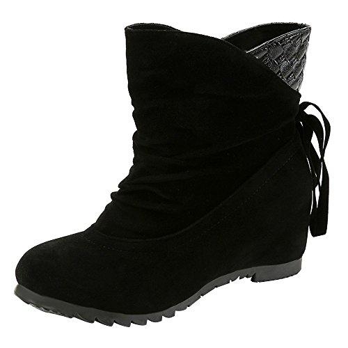 Stiefel Damen, LANSKIRT Flache Slip-On Wedges Ankle Boots Stiefeletten Halbschaft Stiefel Plateau Blockabsatz Knöchelhohe Stiefel Boot Sandalen Sneakers Schuhe (Pelz-knie-boot)