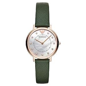 Emporio Armani Reloj Analógico para Mujer de Cuarzo con Correa en Cuero