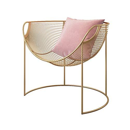 Chairwell sedie per sala da pranzo sedia in ferro battuto, divano lazy poltrona schienale curvo con panca imbottita per negozio di abbigliamento soggiorno studio bar tavolo seggiola (color : pink)