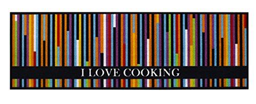 Küchen Deko Küchenteppich Küchenläufer Kuechenlauefer Küchenmatte Läufer Teppichläufer Teppich Teppiche Matte - waschbar - bunt gestreift - I Love Cooking - Motiv - Größe 50x150 cm Küchenutensilien