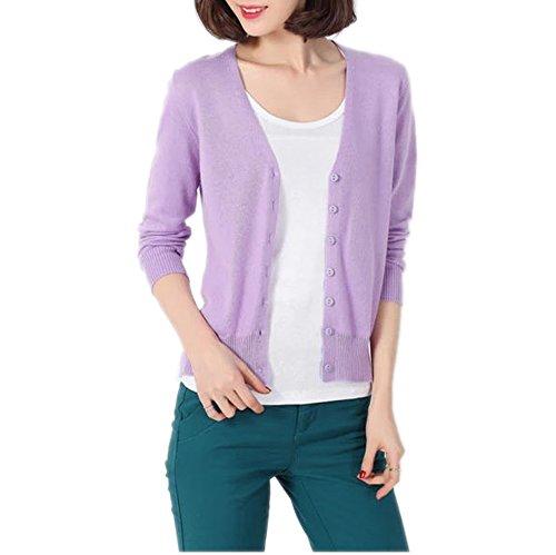 HIDOUYAL Women Jacket Cardigan slim Fit T-shirt (Hell Violett, M) (Womens Hell Violett)