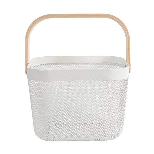 LY/WEY Storage Basket with Wooden Handle Condiment Wire Basket Vegetable Fruit Remote Control Organizer Storage Basket,White