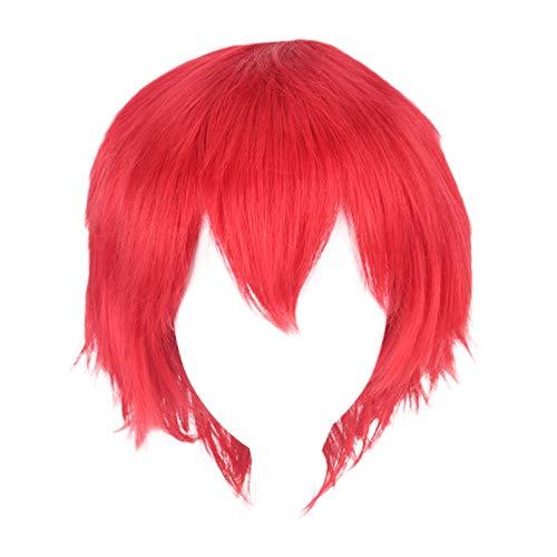 Kurze Mode Spiky Multi Color Short glattes Haar Perücke Anime Party Cosplay Volle Verkauf Perücken 35cm Perücke Halloween Weihnachten Karneval Dress Up Pretend Spiel Party Perücke Geschenk (Red)