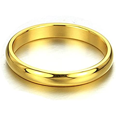 Andonger Placcato oro 18K tungsteno Glossy Coppia Band Ring
