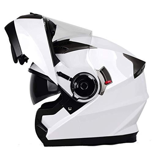 OUTO Abnehmbarer Helm Multifunktions-Anti-Fog-Doppellinse Motorrad Männer und Frauen Full Cover Stärken Das äußere Gehäuse (Farbe : Weiß, größe : L)