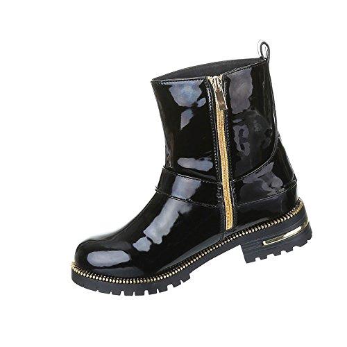 Damen Schuhe Boots Warm Gefütterte Stiefeletten Schwarz