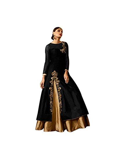 Muffins Special Taffeta Silk Indo-western For Womens wear (Black)