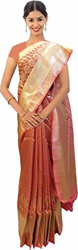Shree Women's Hand Woven Pure Banarasi Saree With Blouse (Pink)
