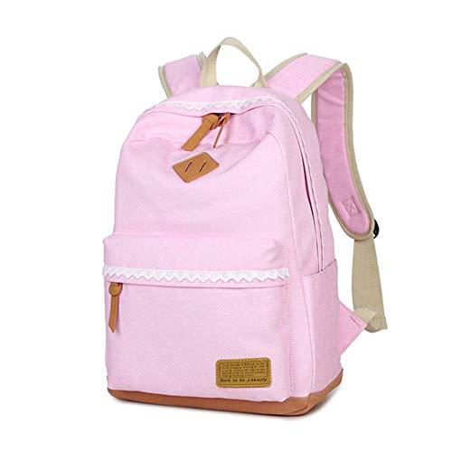 Mädchen Rucksack SKYIOL Daypack Alltagstasche Segeltuch Schulranzen mit Punkten Spitzen 7 Fächern Groß für 15,6 Zoll Laptop perfekt für Alltag Freizeit Schule Reise (Pink) (Rosa Rucksack Für Mädchen)