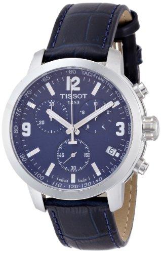 Tissot Herren-Armbanduhr 42mm Armband Leder Blau Quarz T0554171604700