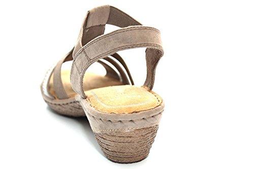Marco Tozzi F11107Tp - cuneo sandaletti con tacco & listello decorativo pietre Grigio (Grau (Beige))