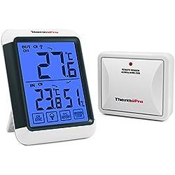 ThermoPro TP65S Thermometre Interieur Exterieur Sans Fil Jauge de Température Moniteur D'humidité Intérieure Hygromètre, Capteur à Distance Rechargeable