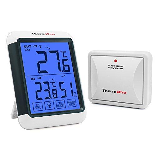 ThermoPro TP65S Wireless Termometro Igrometro Esterno e Interno Misuratore di umidità e Temperatura Interna Digitale con Temperatura Esterna e Touch Screen Retroilluminazione