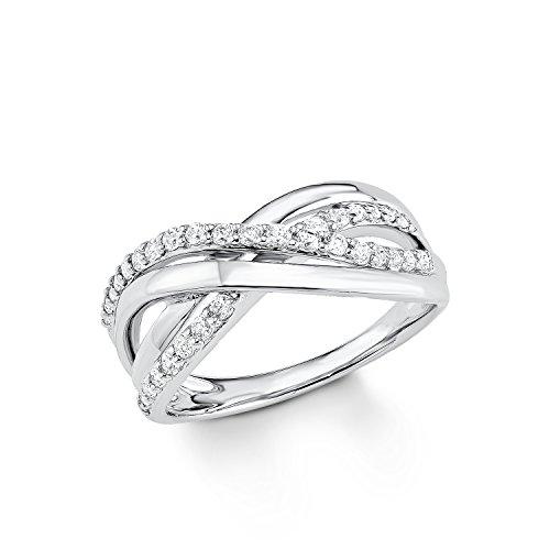 S.Oliver Damen Ring Jewel 925 Sterling Silber rhodiniert Zirkonia weiß