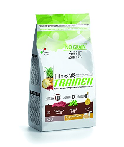 Trainer Natural NovaFoods Cibo per Cani Fitness 3 Adult Medium Maxi Horse&Peas 12,5KG - 12500 gr