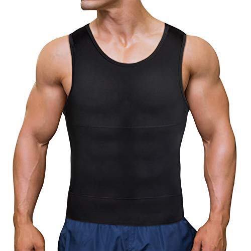 Chumian Herren Kompression Unterhemd Shapewear Bauch Weg Sport Fitness Figurformende Abnehmen Body Shaper Tank Top, Schwarz, 3XL - Top Tank Body Shaper