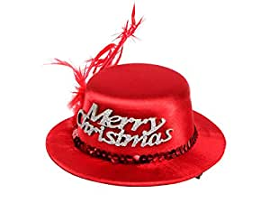 'Super mini chapeau de noel rouge avec 2 mini pince barrette de cheveux (wm-131) Animez votre tenue de soirée de cet élégant accessoire de cheveux Une touche de fantaisie et d''originalité. Diamètre: environ 13 cm, hauteur environ 5 cm. Plume rouge, et Merry Christmas en argenté. jouyeux noël joyeuse fête de fin d''année, cadeau sympa pour femme fille mère enfant déguisement soirée spéctacle évenement ALSINO'