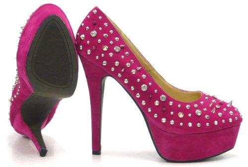 Damen Fashion Schuh City Rosa Heels High mit Stachel Nieten Pumps Schuhe Sky gqrtZwEdrx