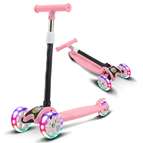 Pang Hu Kinder Roller / 3 Wheel Kick Roller / 3 Wheels Folding Faltbare Push Kick Ride Skate Blinklicht/Verstellbarer Griff/LED leuchten Räder für Kinder,Pink (Folding Walker 2-rädern)