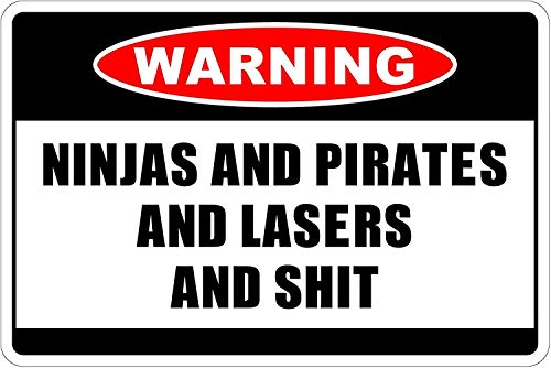Pirates and Lasers and $HIT Warning Funny Eisen Poster Malerei Blechschild Vintage Wall Decor für Cafe Bar Pub Home ()