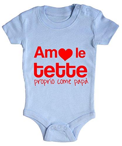 BODY tutina bimbo neonato Amo le tette proprio come papà 6 mesi