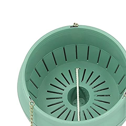 Garden Flower Pots - 3L Plastic Self Watering Pots with Hanging Chains Hook (Green)