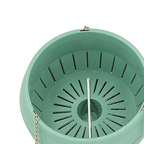 Jardin Pots de fleurs–3L Plastique Pots d'arrosage automatique avec chaînes à suspendre Crochet (Vert)