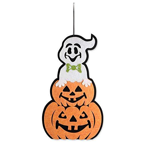 FDY MY Innen und Außenbereich Vlies Stoffe Halloween Aufhängen Tür Dekorationen und Wand Schilder, für Zuhause, Schule, Büro, Party Dekorationen-Geist mit Kürbis