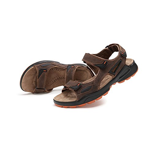 Moollyfox Sandales Plateforme Homme/Sandales En PU-Cuir Marron Foncé