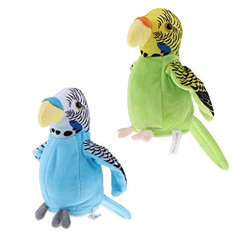 Fenteer 2 pcs Niedliche Sprechen Sprechende Papagei Vogel auf Käfig Kuscheltier Plüschtier