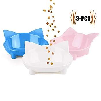 Legendog Gamelle Chat, 3 Pièce Bol Chat Bol de Chat en Peu Profonde Bouche Plat Bol pour Chat Antidérapant Gamelle Bowl d'eau pour Chats Chaton (Rose/Gris/Blanc)