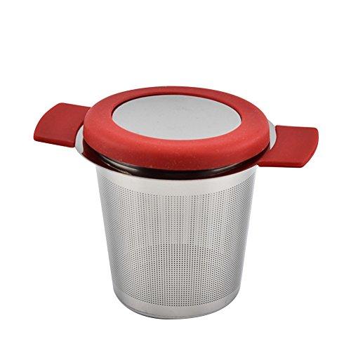 Comaie 304 Tee-Ei Edelstahl Filtersieb mit Deckel und Doppelgriffen, perfekt zum Aufhängen an...
