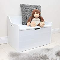 Wido White Childrens Toy Box With Seat Ottoman Storage Chest Bench Kids Play Room Furniture Nursery Wooden