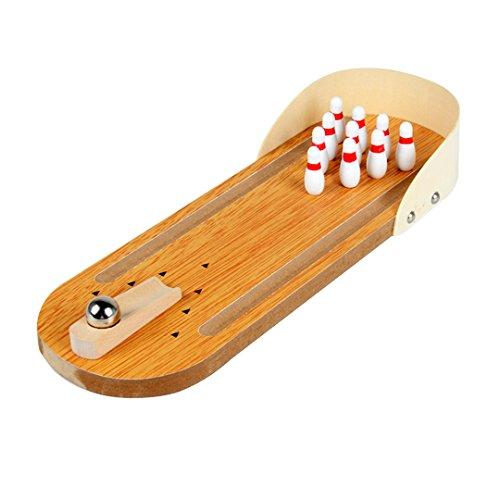 AiSi Kinder Holz mini Tisch-Bowling Bowlingkugel Kegelspiel Bowling-Set Tischspielzeug Tischkegelspiel - Super kleines Geschenk für Bowlingfans