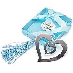 Idea Regalo - Gleader - Segnalibro d'argento a forma di cuore, regalo da mettere nella calza di Natale, in confezione regalo